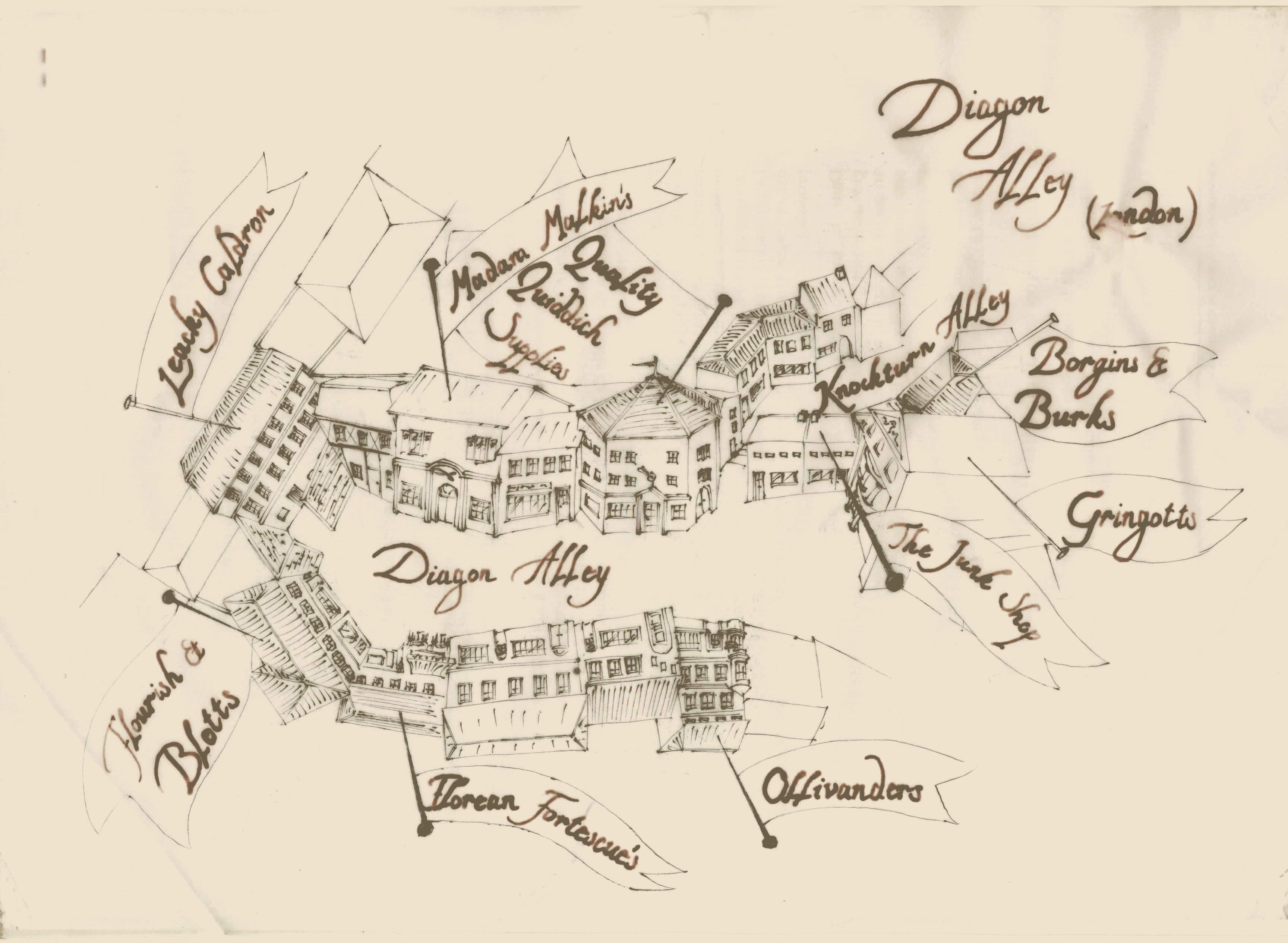 Any detailed maps of Diagon Alley? : harrypotter